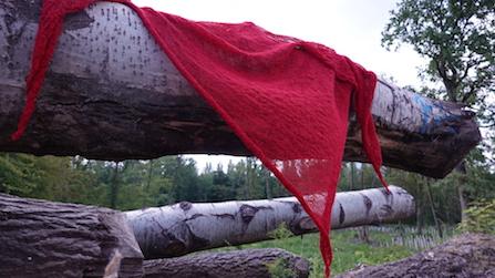 """der rote Schal """"3x3"""" - in voller Größe"""