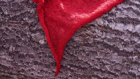 """der rote Schal """"3x3"""" - eine Ecke"""